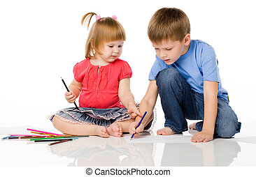 Children draw color pencils
