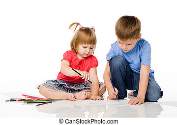 Children draw color pencils - brother and the sister draw...