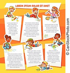 Children draw on paper. Template for advertising brochure