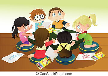 Children drawing - A vector illustration of a group of...