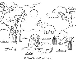 Children drawing. Animals of Africa, mainland mammals,. Vector Coloring, black and white coloring.