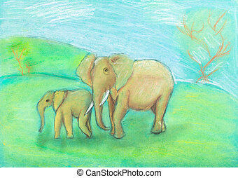 children drawing - Elephant with baby the savannah