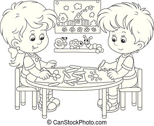 Children drawing funny pictures - A little girl and a boy...