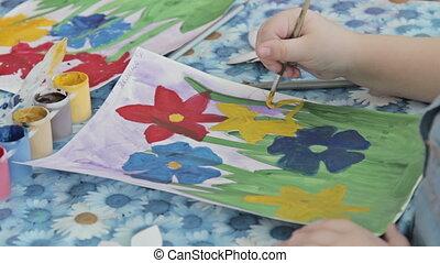 Children drawing in kindergarten - Children painting in...