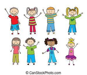 children drawing over white background. vector illustration