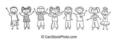 children drawing over white background. vector illustration