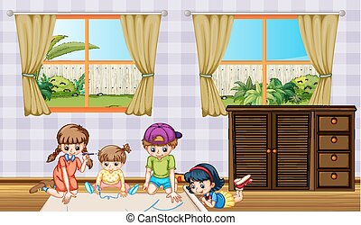 Children drawing picture in the room