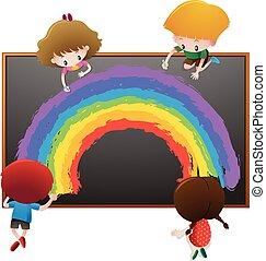 Children drawing rainbow on board