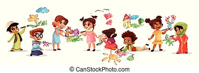 Children drawing with pencils vector illustration of different nationality cartoon boys and girls kids painting with color chalks