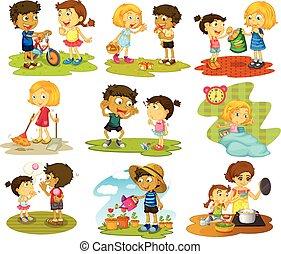 Children - Illustration of many children doing chores and...