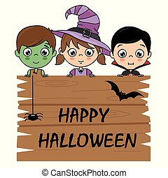 children dressed as halloween