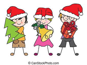 Children dressed as Santa Claus.