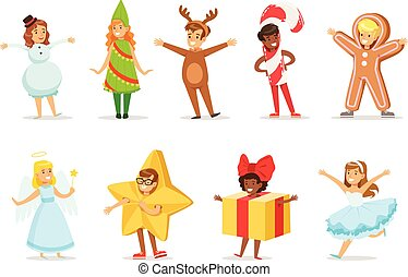 Children Dressed As Winter Holidays Symbols For The Costume Christmas Carnival Party