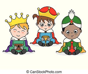 Children dressed as wise men. isolated vector