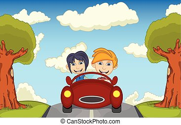 Children driving a car
