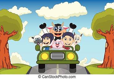 Children driving a car