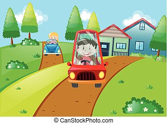 Children driving small cars on the road