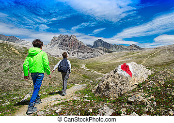 Children during a trek in the mountains