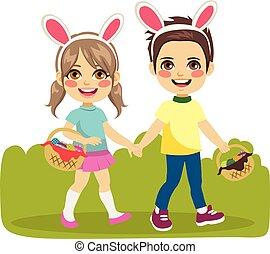 Children Easter Walking