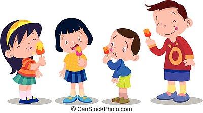 children eat ice cream - Illustration of children feeling...