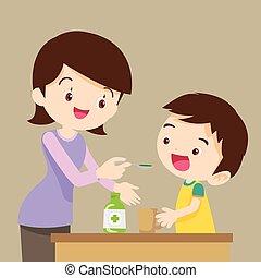 children eat medicine