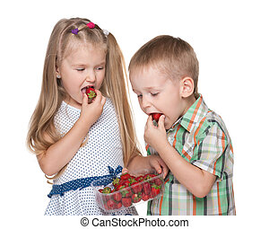 Children eat strawberry