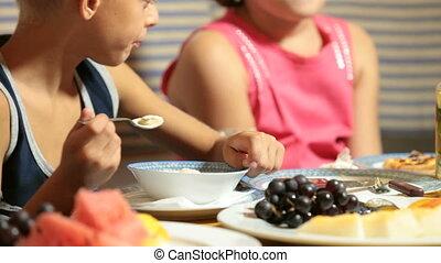 Children Eating Dessert