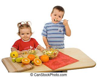 Children eating fruit salad