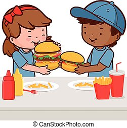 Children eating hamburgers - Two children, a girl and a boy...
