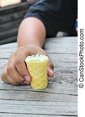 children eating ice cream in hand