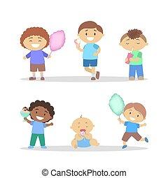 Children eating sweet. Boy with a dessert