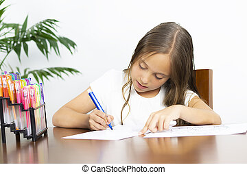 Cute Girl Sitting at his Desk Painting