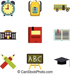 Children education icons set, flat style