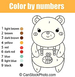 Children educational game. Coloring page with cute bear. Color by numbers, printable activity