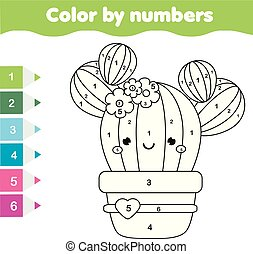 Children educational game. Coloring page with cute cactus. Color by numbers, printable activity