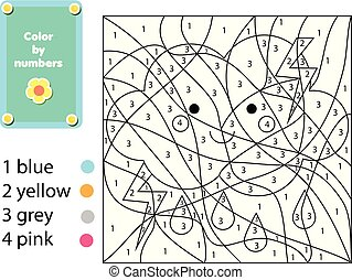 Children educational game. Coloring page with cute cloud. Color by numbers, printable activity