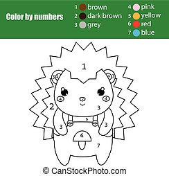 Children educational game. Coloring page with cute hedgehog. Color by numbers, printable activity