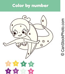 Children educational game. Coloring page with cute mermaid. Color by numbers, printable activity