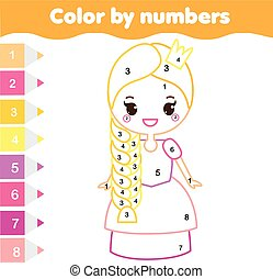 Children educational game. Coloring page with cute prnicess. Color by numbers, printable activity