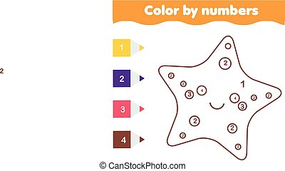 Children educational game. Coloring page with cute sarfish. Color by numbers, printable activity
