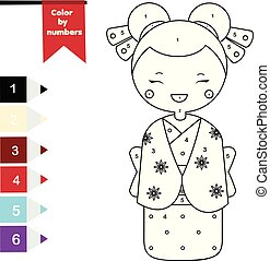 Children educational game. Coloring page with japanese girl in kimono. Color by numbers, printable activity