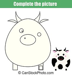 children educational game. Complete the picture. Coloring page. Kids activity with cow. Printable drawing worksheet. Animals theme