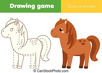 children educational game. Complete the picture. Coloring page. Kids activity with horse. Printable drawing worksheet. Animals theme
