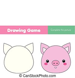 children educational game. Complete the picture. Coloring page. Kids activity with pig. Printable drawing worksheet. Animals theme