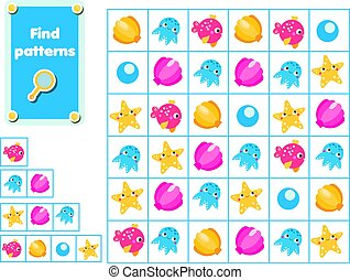Children educational game. Find and show patterns. marine activity for pre school years kids and toddlers.