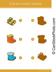 Find the correct shadow. - Children educational game. Find...