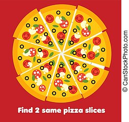 children educational activity. Find the same pictures. Find two identical pizza slices. Food game for kids