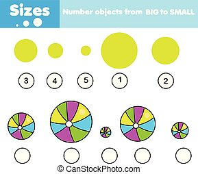 Children educational game. Learning sizes. Activity for toddlers and pre school years kids.