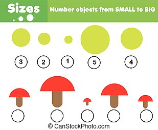 Children educational game. Learning sizes