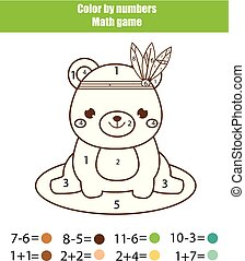 Children educational game. Mathematics actvity. Color by numbers, printable worksheet. Coloring page with cute bear
